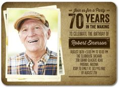Triumphant Moment - Adult Birthday Party Invitations in Coffee 75th Birthday Parties, Adult Birthday Party, 80th Birthday, Birthday Ideas, 90th Birthday Invitations, Invites, Business Christmas Cards, Grandpa Birthday, Tiny Prints
