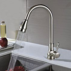 Kitchen Basin Sink Faucet Modern Chrome Finish Brass Made Pull Out Spring Tap
