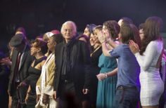 Rock legend Jimmy Page joined all the performers and other honorees on stage after the Berklee College of Music Commencement Concert at Agganis Arena on Friday.