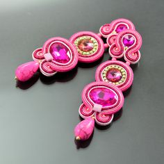 Clip on Long Pink Soutache Earrings - Long Unique Pink Glossy Earrings - Unique…