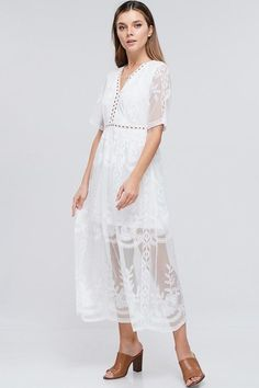 Faith Floral Lace White Maxi Dress