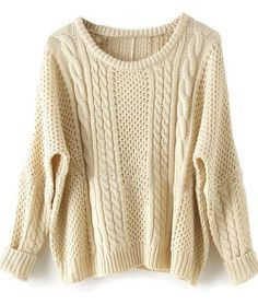 fashion apricot batwing sweater, long sleeve pullover white sweater - Crystalline