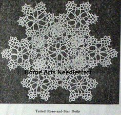 Tatted Rose-and-Star Doily By Mrs. M. M. Stoddard