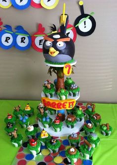 Amazing Angry Birds Cupcake Tower on Global Geek News...my boys would never want another cake if they got this