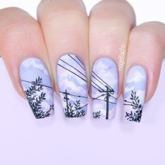 Lavender Sky and Power Line Nails by nagelfuchs Summer Acrylic Nails, Best Acrylic Nails, Cute Acrylic Nail Designs, Nail Art Designs, Pretty Nails, Super Cute Nails, Anime Nails, Nagellack Design, Sky Nails
