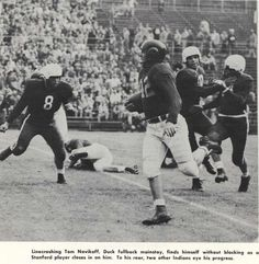 Oregon-Stanford football game 1951 in Palo Alto. Tom Novikoff carries the ball. From the 1952 Oregana (University of Oregon yearbook). www.CampusAttic.com