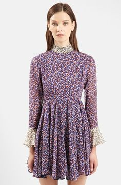 TOPSHOP Unique 'Ottoline' Floral Print High Neck Silk Dress available at #Nordstrom