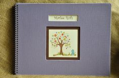 Customizable Handmade Baby Book  Memory Book with whimsical bird and tree theme. For adoptive, or single parent families as well!