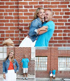Love the brick wall for this #engagementphoto