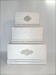 Ready to Ship Wedding Money Box Platinum Silver Classic Wedding Card Holder Wedding Card Box Gift Card Box Secure Lock by WrapsodyandInk on Etsy