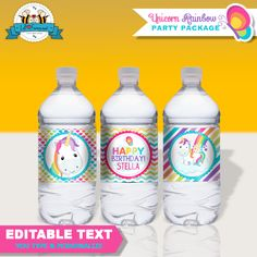 Editable Unicorn Rainbow Birthday Party Water Bottle Labels