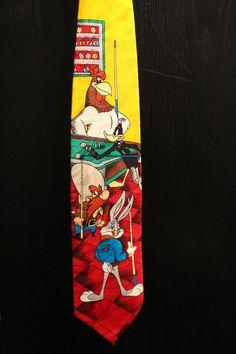 Bugs Bunny, Yosemite Sam, Daffy Duck, Foghorn Leghorn playing pool Necktie from Looney Tunes