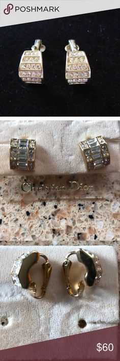Vintage CHRISTIAN DIOR Gold Tone Clip on Earrings Vintage CHRISTIAN DIOR Signed Channel Set Pave Swarovski Crystal & Gold Tone Clip Earrings High Fashion Designer Signed Jewelry In great pre loved condition worn once Christian Dior Jewelry Earrings