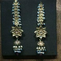 Kundan diamonds and feroza earrings