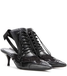 GIVENCHY Black Leather &  Lace Kitten Heel Pumps