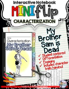 englishmen vs colonists my brother sam is dead lesson my brother sam is dead interactive notebook characterization mini flip