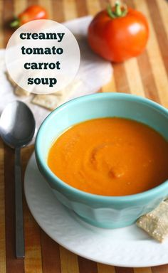 This creamy tomato and carrot soup is so easy and so comforting on a cool day! Dairy free and gluten free recipe.
