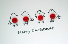 Christmas Robins Card - Cute robins with buttons - Handmade Card - Holiday Card