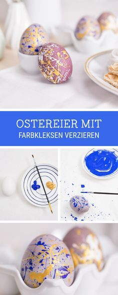 Oster-DIY: Ostereier bemalen mit bunten Farbkleksen / Easter egg tutorial: crafting with kids via DaWanda.com