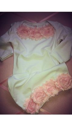 White & Light Pink Shabby Chic Newborn Infant Layette Baby Gown, Take Me Home Outfit on Etsy, $25.99
