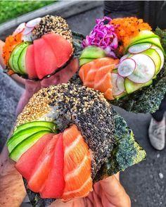 #Repost @paulsfoodhaul Do sushi what I see!? SUSHI DONUTS AT @PROJECTPOKECO AVAILABLE TODAY! SNAPCHAT: PAULSFOODHAUL