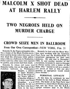 21st February 1965 - Malcolm X shot dead at Harlem rally