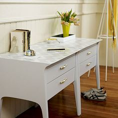 DIY side table from two nightstands... high gloss paint and chevron wallpaper
