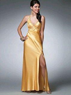 A-Linie Neckholder Bodenlänge Stretch-Satin Abendkleid Gold