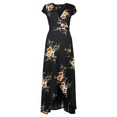 Akmipoem Women's Off Shoulder Short Sleeve Floral Print Split Beach Party Maxi Dress