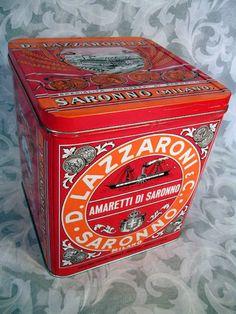 """Sold Vtg D. Lazzaroni & C. Saronno Milano Biscotti Big Tin Box 8.5"""" Tall Italy"""