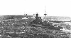The oil fired, 5 ship 15 in Queen Elizabeth class were the best British battleships of WW1, being nearly as fast as contemporary battlecruisers and much more heavily armoured.  This is HMS Valiant following her sisters Barham (nearest) and Queen Elizabeth to sea in 1917.  They went on to have distinguished WW2 careers.