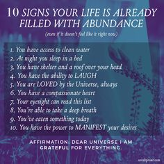 ABUNDANCE (even if it doesn't feel like it right now).   #Affirmation: Dear Universe, I am grateful for everything.   'LIKE' or share the L O V E to activate the powerful group energy of appreciation to remember the deep and profound transformative vibration of gratitude. ✨💜🙏🏻