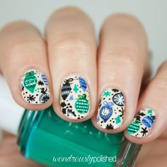 Wondrously Polished - pretty! Ornaments, christmas nail art, nail designs