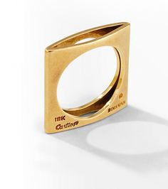 La bague carrée minimaliste en or jaune de Dinh Van
