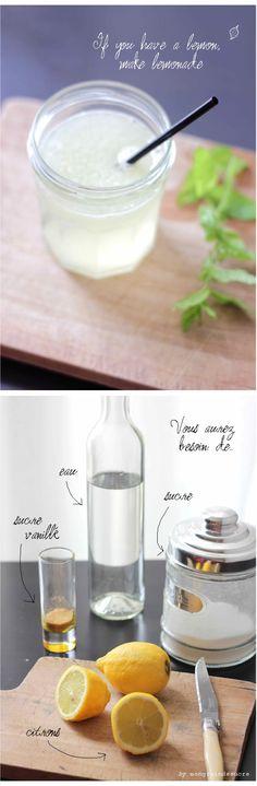 Limonade maison : 6 citrons 225 gr de sucre 1 sachet de sucre vanillé de l'eau bien fraîche