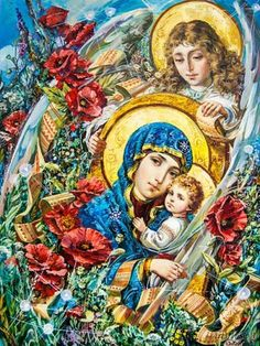 Mary Mother of God Jesus And Mary Pictures, Hail Holy Queen, Church Flower Arrangements, Mama Mary, Ukrainian Art, Lord Is My Shepherd, Holy Mary, Madonna And Child, Blessed Virgin Mary