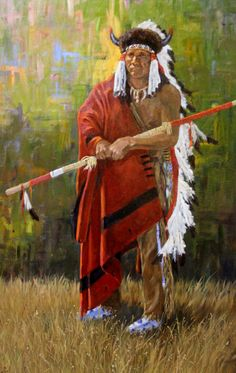 """734. Description: Western Artist: Ron Stewart, """"Black Foot Chief"""", Oil Painting, with a great frame that sets the image off for maximum effect. Dimension: 36"""" x 24"""". Condition: Excellent condition. --"""