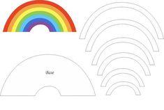 Rainbow Felt Mold 🌈 and Cloud Eye Template - Festa Chuva de Amor - Baby Crafts, Diy And Crafts, Quiet Book Templates, Felt Templates, Felt Crafts Patterns, Diy Quiet Books, Bow Template, Rainbow Crafts, Diy Hair Bows