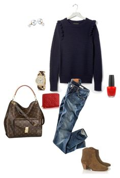 """""""Banana Republic navy ruffle sweater"""" by millaschic on Polyvore featuring Louis Vuitton, Banana Republic, H&M, Étoile Isabel Marant, Empreinte, MICHAEL Michael Kors, OPI, Bling Jewelry, women's clothing and women's fashion"""