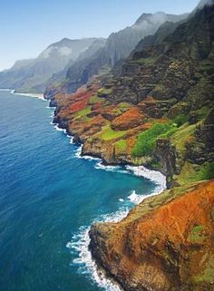 The Na Pali coast in Kauai, Hawaii. Also known as the Garden Isle, Kauai lies 105 miles northwest of O'ahu. It is the oldest of the main Hawaiian islands, approximately 6 million years old. (Masa Ushioda/Getty Images)