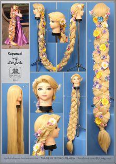 Rapunzel wig by Ryoko-demon on DeviantArt Disney Cosplay, Rapunzel Cosplay, Cosplay Diy, Halloween Cosplay, Halloween Costumes, Tangled Costume, Disney Rapunzel, Rapunzel Braid, Rapunzel Dress