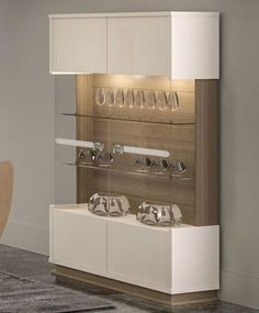 Evolution Modern 2 Door Display Cabinet In Ivorywalnut Effect regarding dimensions 900 X 1038 Modern Dining Room Display Cabinets - The easiest and Crockery Cabinet, Dining Cabinet, Cabinet Furniture, Crockery Units, Furniture Storage, China Cabinet, Showcase Cabinet, Glass Showcase, Showcase Design