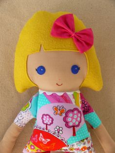Reserved for Vanessa Fabric Doll Rag Doll Girl in by rovingovine