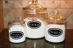 Three glass jars for kitchen. 2 gallon - 1 gallon & 1/2 gallon