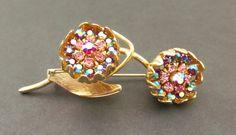 Small Vintage Gold Tone HATTIE CARNEGIE Pink Blue Rhinestone Floral Brooch Pin