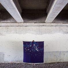 'Night Flight,' by artist Heidi Parkes, under a bridge in Geneva, Illinois. #quilt #handquilted