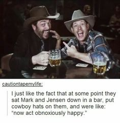 I ALSO LIKE HOW THIS WAS AN ACTUAL PART OF THE SHOW AND THAT THIS IS SUPPOSED TO BE CROWLEY AND DEAN INSTEAD OF MARK AND JENSEN Destiel, Johnlock, Crowley Supernatural, Family Business, Mark Sheppard, Winchester Boys, Super Natural, Sam Dean, Jensen Ackles