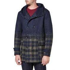 Cappotto doppiopetto in misto lana vergine operata a creare un effetto…