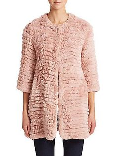 Adrienne Landau Knit Rabbit Fur Coat <br>
