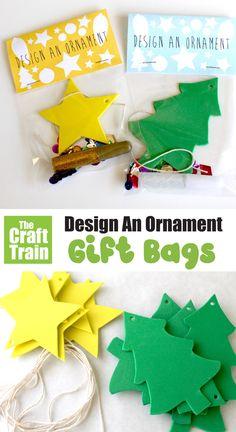 Ornament craft gift bag idea for kids. This is a fun DIY idea that kids can hand out to their friends with a free printable lablel #kidscrafts #thecrafttrain #chirstmascraftsforkids #kidsactivities #diygifts Easy Crafts For Kids, Fun Crafts, Paper Crafts, Craft Gifts, Diy Gifts, Handmade Gifts, Ornaments Design, Ornament Crafts, Recycled Crafts